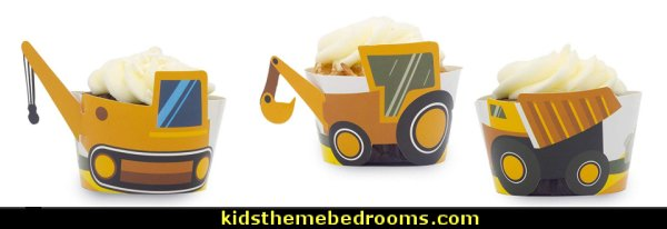 Construction Birthday Party Cupcake Wrappers  Construction party ideas - construction party decorations - digger construction party props - Dump Truck Party Decorations - crane construction theme party - work truck decorations - Digger Zone Boys Birthday Party -