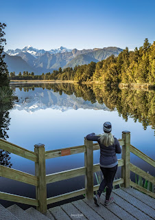 Fox Glacier, Lake Matheson, New Zealand, NZ, Reflection Island, Sunrise, West Coast