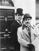 Jeremy Brett and David Burke as Sherlock Holmes and Dr Watson at 221 B Baker Street in the Granada Adaptation