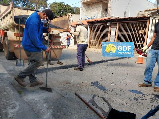 Núcleo bandeirante recebe reparos nas vias comerciais e residenciais