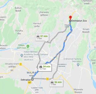 Map to reach Dehradun Zoo
