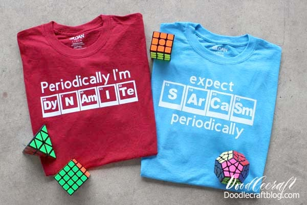 Periodic Table of Elements Funny Science T-Shirts with Cricut Maker!