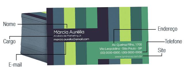 cartão de visitas dados