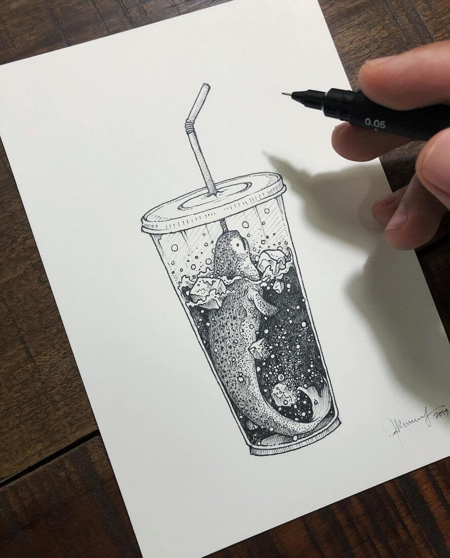 11-Narwhal-Kerby-Rosanes-Detailed-Fantasy-Ink-Drawings-www-designstack-co