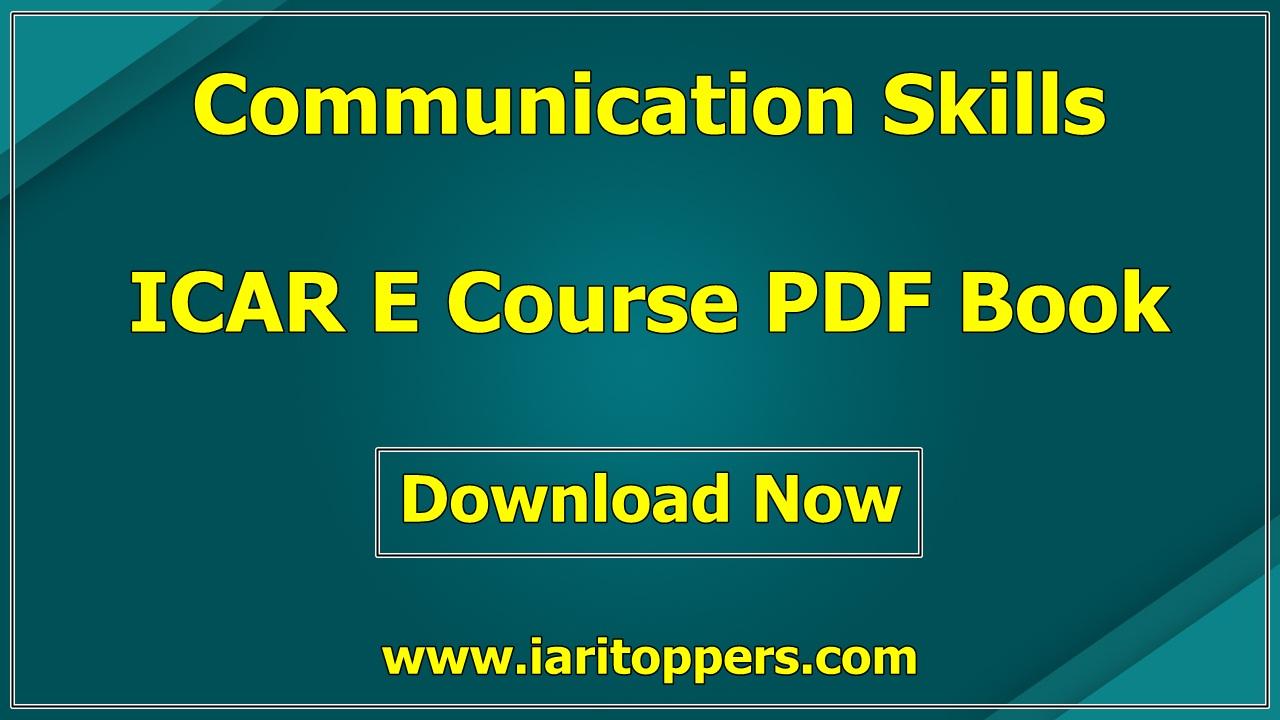Communication Skills ICAR e course PDF Book Download E Krishi Shiksha