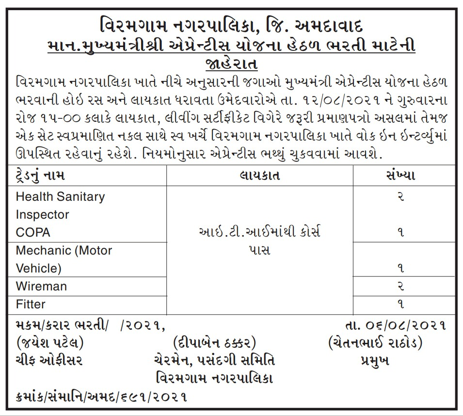 Viramgam Nagarpalika Recruitment 2021 | Apply for COPA, Wireman, Fitter and Other  Posts