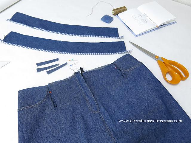 coser una falda vaquera modelo clásico