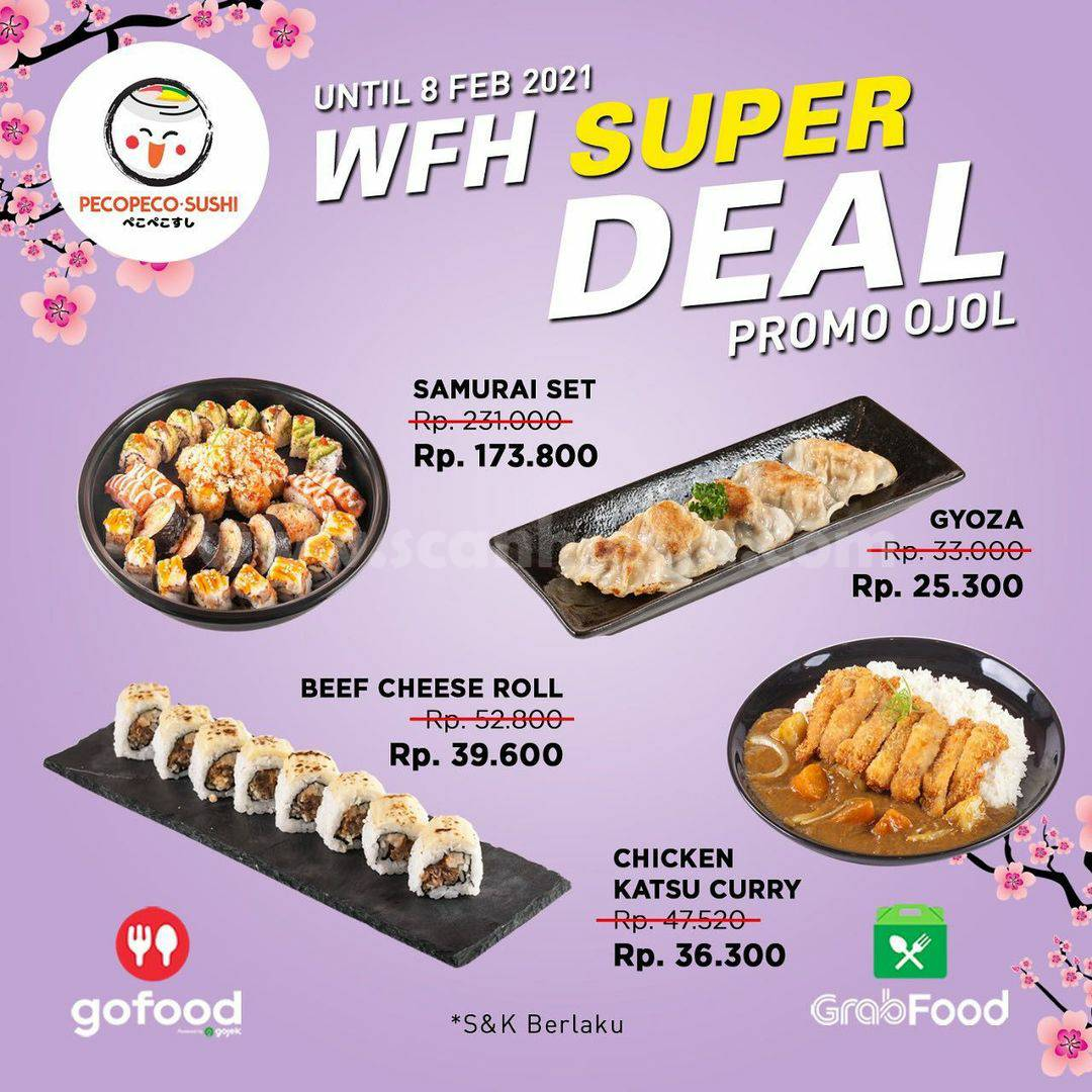 PECO PECO SUSHI Promo WFH Super Deal harga mulai 25K via GoFood atau GrabFood