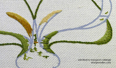 Close-up of crewel snowdrop leaves showing some different stitch choices
