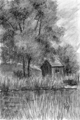 charcoal sketch river landscape barn