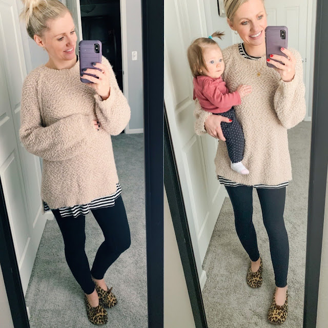 Cozy winter maternity outfit