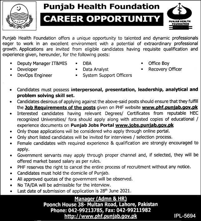 www.phf.punjab.gov.pk Jobs 2021 - Punjab Health Foundation (PHF) Jobs 2021 in Pakistan
