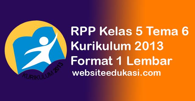 RPP Kelas 5 Tema 6 K13 Format 1 Lembar Revisi 2020