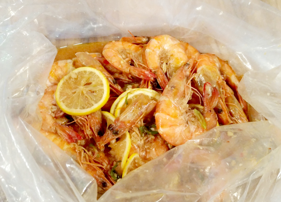 Shrimps in Lemon Garlic  Sauce, Blue Posts Boiling Crabs and Shrimps