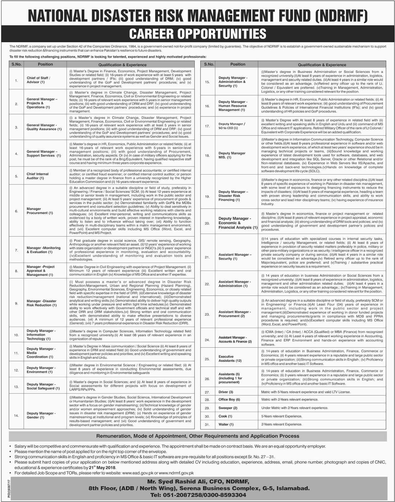 Jobs In NDRMF National Disaster Risk Management Fund May 2018