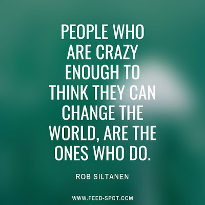 People who are crazy enough to think they can change the world, are the ones who do. __ Rob Siltanen