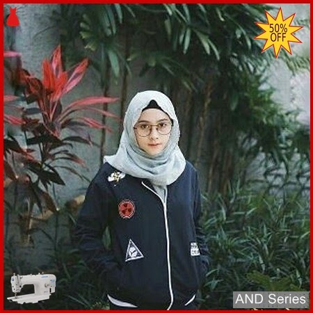 AND108 Jaket Wanita Bomber Biru Navy Flash BMGShop