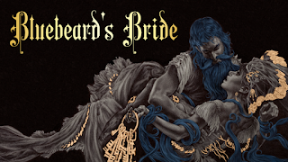 The cover art for Bluebeard's Bride. Bluebeard himself holds his wife in an awkward embrace, as she holds a ring of keys and hesitates, unsure of her husband. The image is in greyscale, except for Bluebeard's hair, which is blue, and the ring of keys in the bride's hand and some accents in the bride's dress, which are a muted bronze colour.