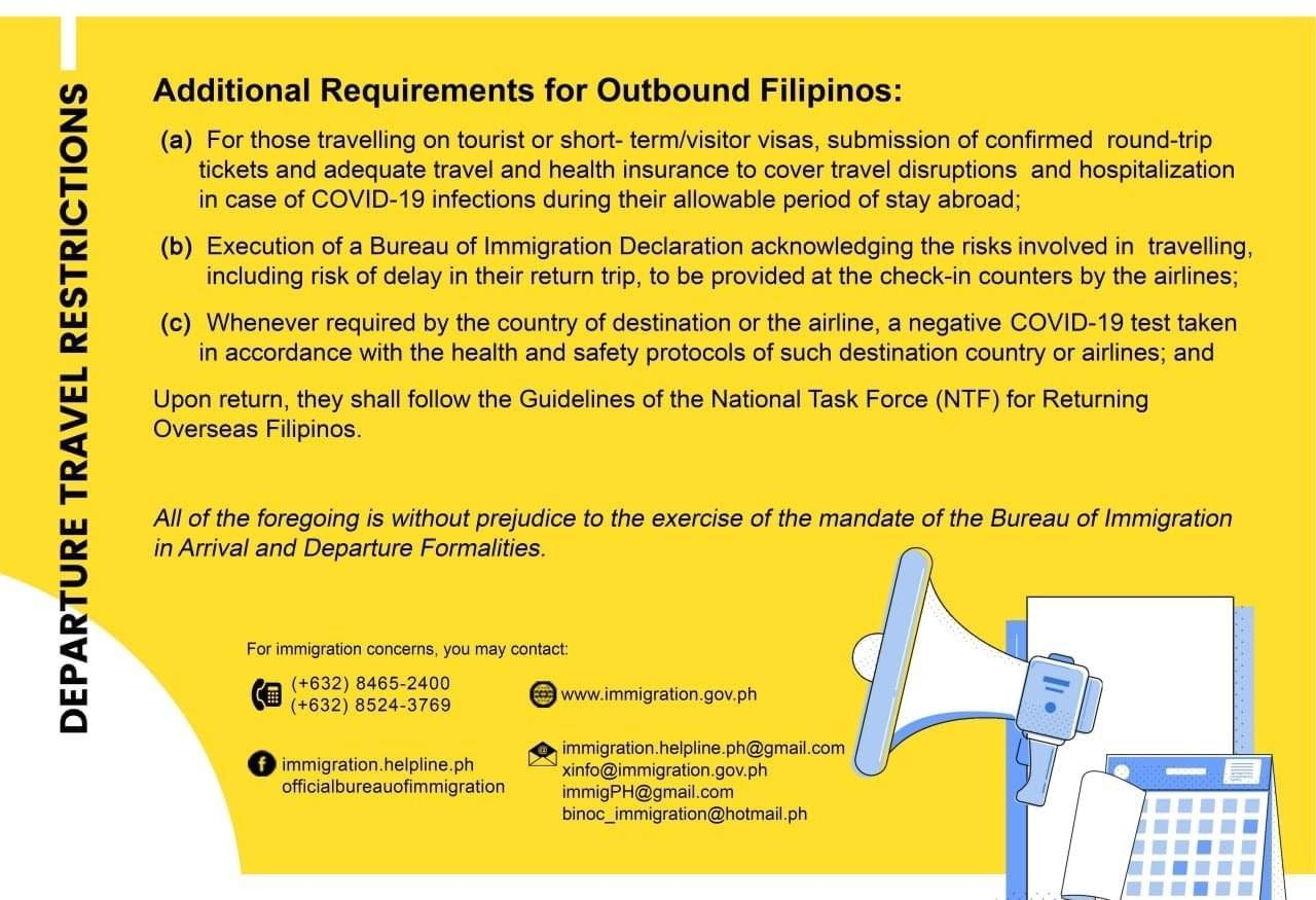 travel requirements for outbound Filipinos