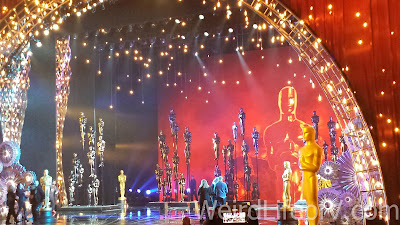 The stage still decorated for the Oscars