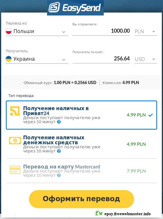 Курс перевода денег в EasySend