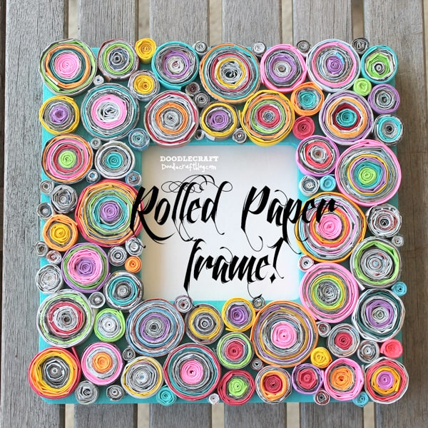 Upcycled Rolled Paper Frame DIY Craft using colored paper and magazines, tedious DIY