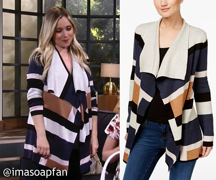 Lulu Spencer Falconeri, Emme Rylan, Colorblocked Cardigan, INC International Concepts, GH, General Hospital