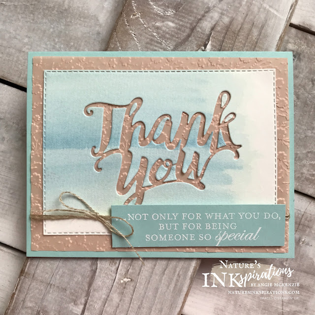 By Angie McKenzie for Kylie's International Blog Highlights - please VOTE for me; Click READ or VISIT to go to my blog for details! Featuring the Thank You Die, Ornate Layers Dies, Stitched Rectangle Dies with Good Morning Magnolia Stamp Set; #stampinup #handmadecards #naturesinkspirations #thankyoucards #thankyoudie #ornatelayersdies #stitchedrectangledies #linenthread #bakerstwine #watercoloring #cardtechniques #makingotherssmileonecreationatatime