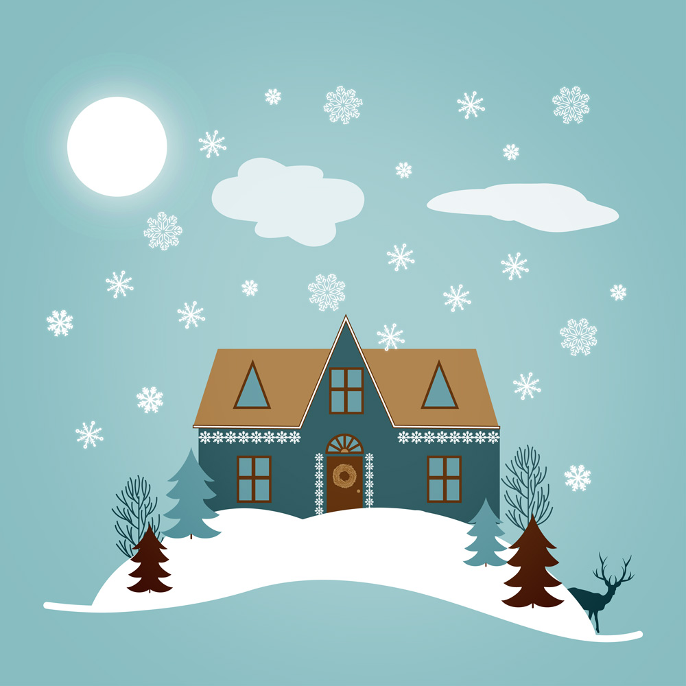 Winter illustration with snowflakes by surface designer Natalia Kolodiazhna