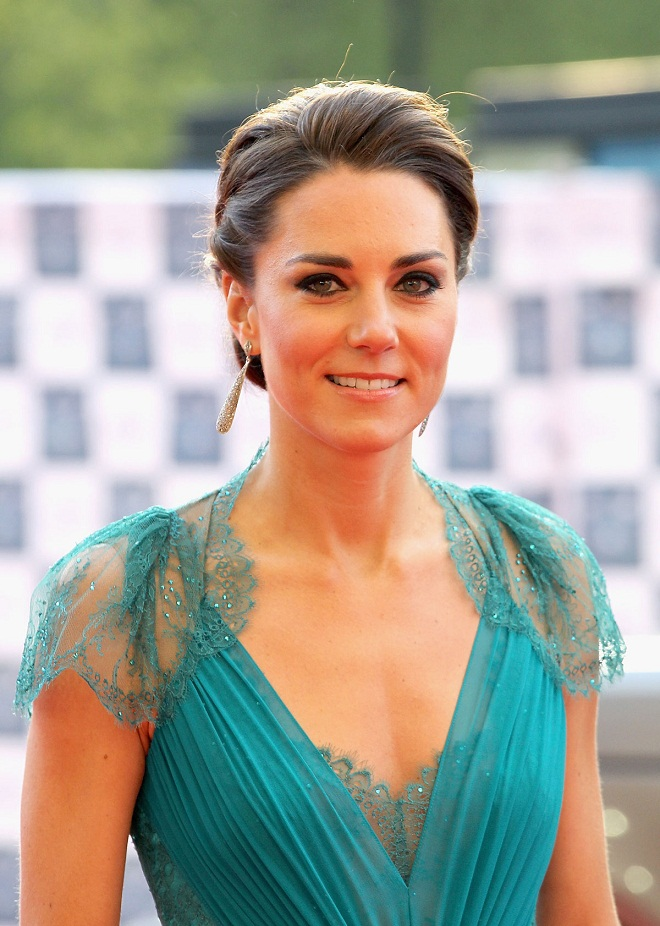 Kate Middleton stuns in a teal Jenny Packham dress at the
