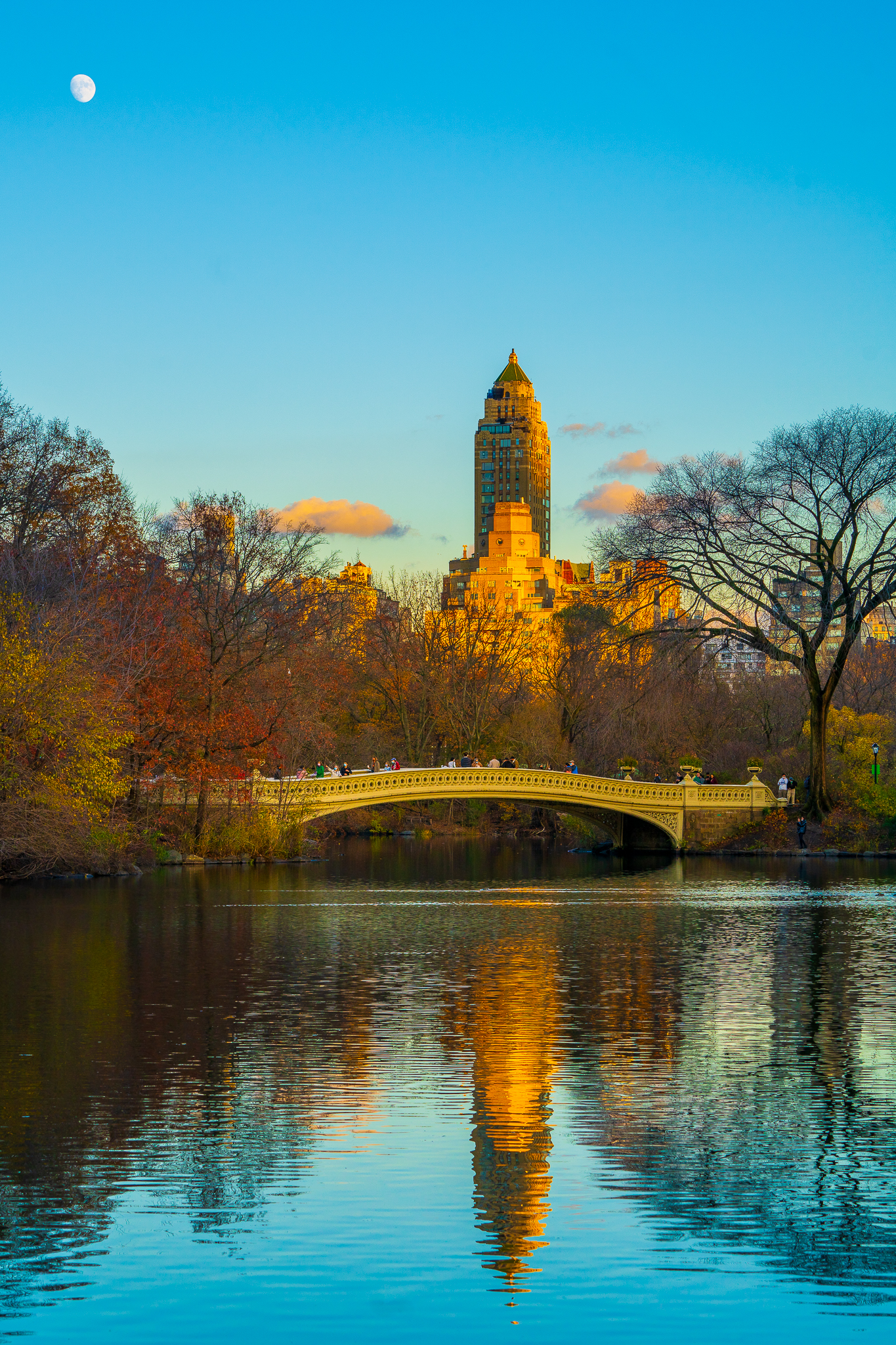 a photo of the moon rising over bow bridge in central park new york