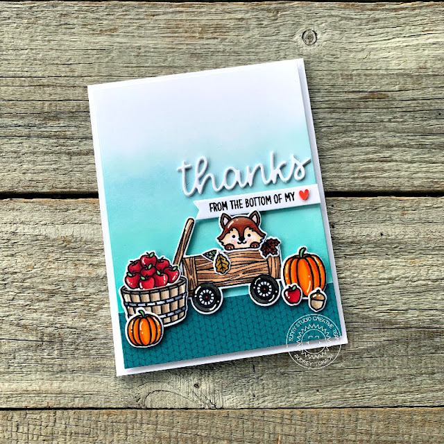 Sunny Studio Stamps: Fall Friends Thank You Word Dies Fall Themed Card by Audrey Tokach