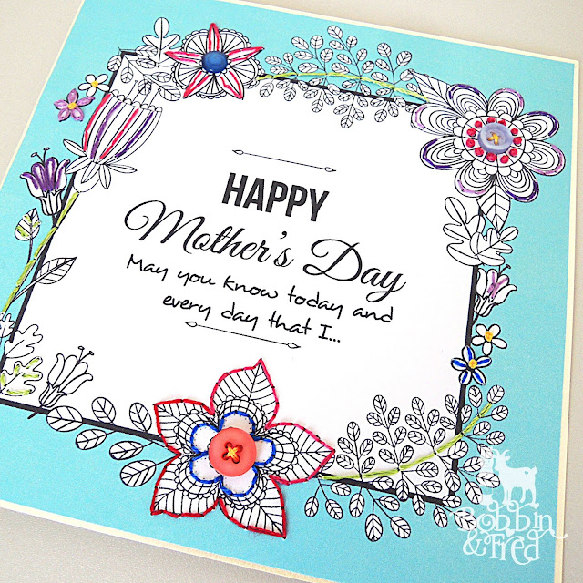Embroidery on floral line drawing greetings card for Mother's Day