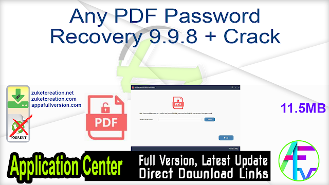Any PDF Password Recovery 9.9.8 + Crack