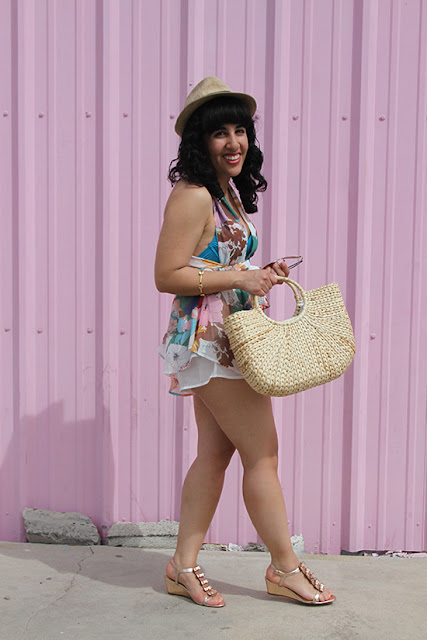 L'ATISTE Floral Romper and Kate Spade Wedges Outfit | Will Bake for Shoes