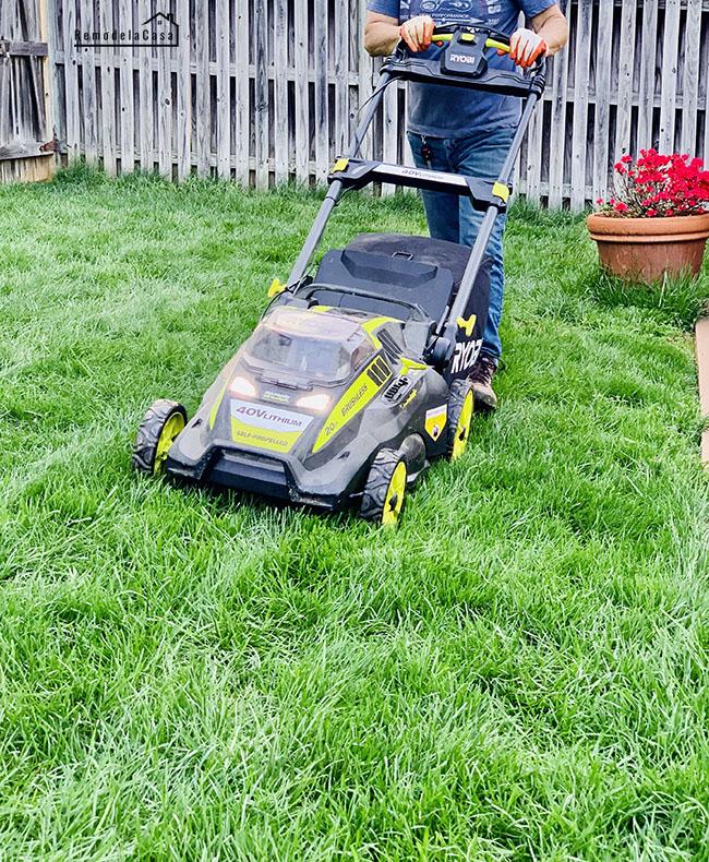 Ryobi lawn mower in backyard - outdoor tools