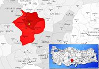 Niğde merkez ilçesinin nerede olduğunu gösteren harita.