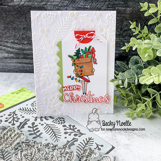Merry Christmas by Becky features Christmas Trimmings, Holiday Foliage, and Fancy Edges Tag by Newton's Nook Designs; #newtonsnook, #christmas, #cardmaking