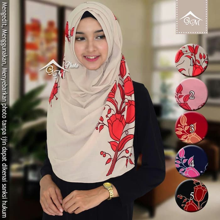 Jilbab Instan Terbaru PED Motif Bunga yang Variasi Harga Murah