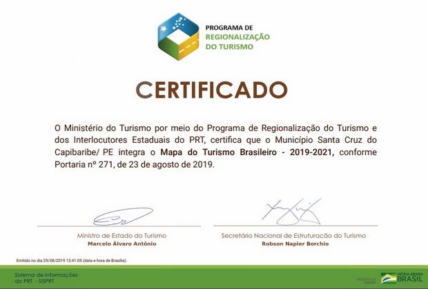 Santa Cruz do Capibaribe está inserida no Mapa do Turismo Brasileiro até 2021