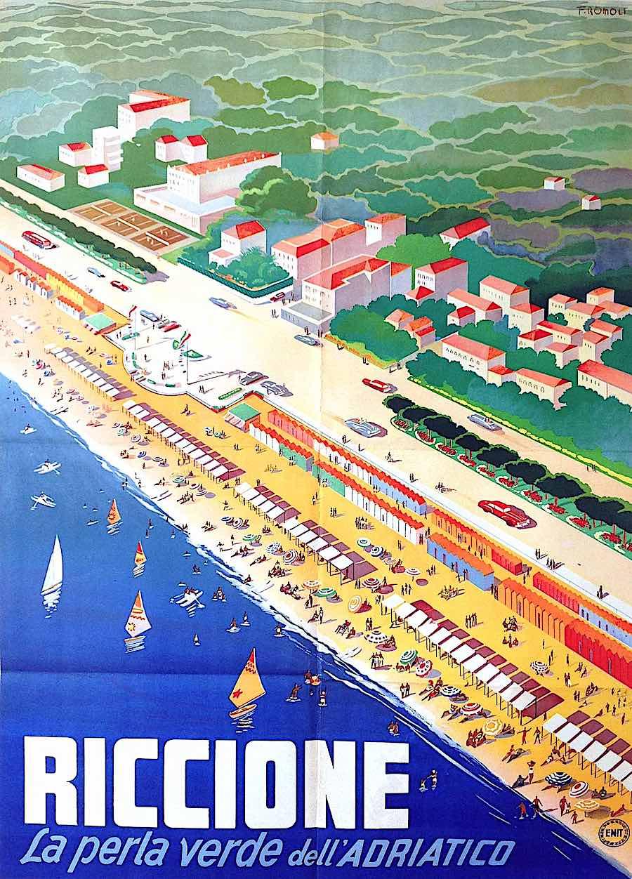 a Filipo Romoli poster 1949, Riccione la perla verde dell' Adiatico, a giant beach in birdseye view