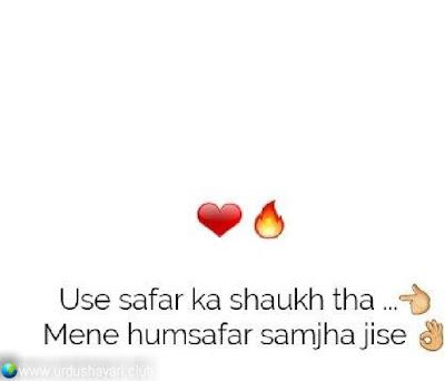 Use Safar Ka Shaukh Tha.  Meine Humsafar Samjha Jise..!!  #shayari