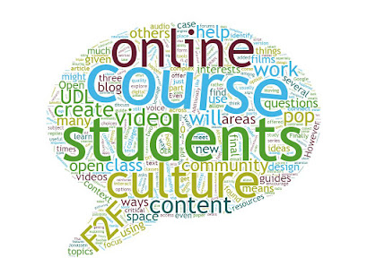 Word cloud of all the words in the article with online, course, student, and culture being the 4 biggest words by far.