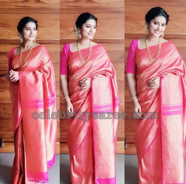 Sneha in Baby Pink Kanchi Pattu Saree