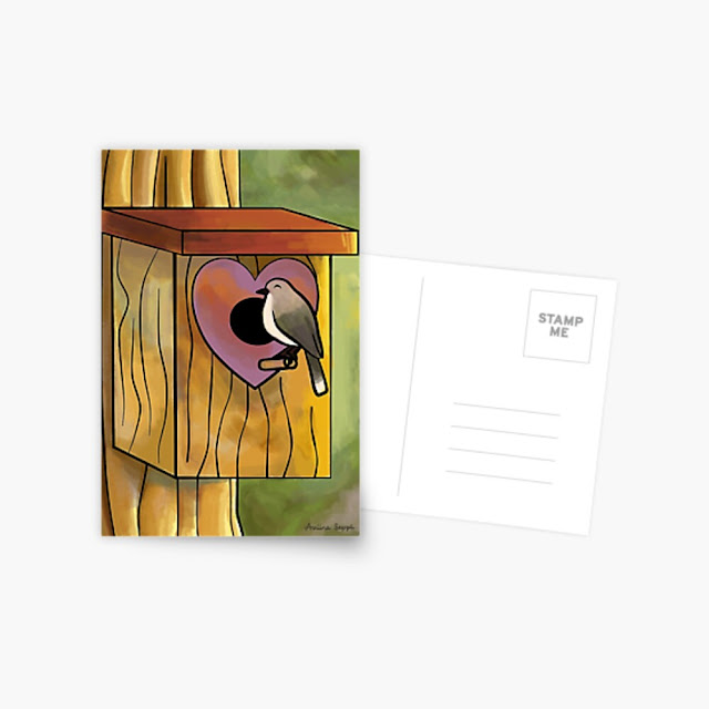 A post card of a cute bird and birdhouse