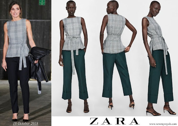 Queen Letizia wore a plaid belted top from Zara