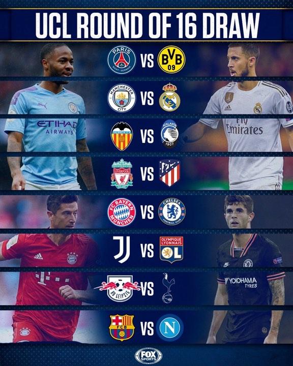 UEFA Champions League វគ្គ១៦ក្រុមចេញហើយ Man City ប៉ះ Real Madrid