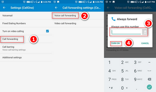 call forward settings in android