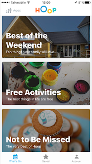 Screenshot of the Hoop App showing categories for Best of The Weekend, Free Activities and Not To Be Missed