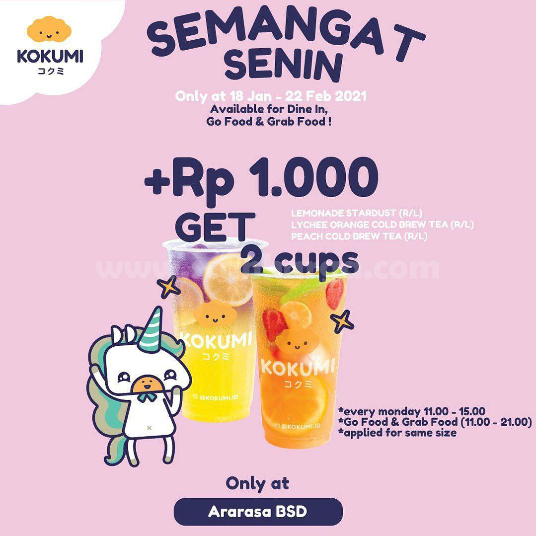 Promo KOKUMI +Rp 1.000 Dapat 2 Cups Minuman
